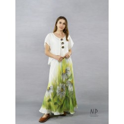 A linen dress with ecru straps, hand-painted with flowers, made of a bias.