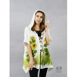 Ecru linen hoodie, decorated with hand-painted sunflowers