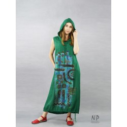 Loose linen dress with an oversize hood, decorated with hand-painted abstraction.