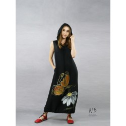 Black loose linen dress with an oversize hood, decorated with a hand-painted butterfly