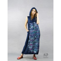 Dark blue loose linen oversize hooded dress, decorated with hand-painted abstraction.