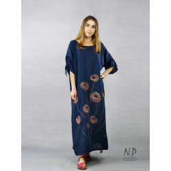 Maxi oversize linen dress in navy blue color, decorated with hand-painted flowers