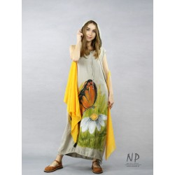 Long linen dress with a hood in the color of natural linen, decorated with hand-painted flowers and a butterfly