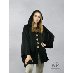 Oversized black linen jacket with a hood, made in the form of a poncho