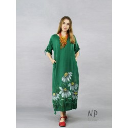Maxi oversize linen dress in green color, decorated with hand-painted chamomiles