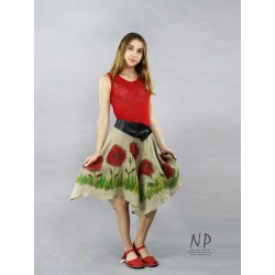 Red linen dress with straps, with a flared bottom, decorated with hand-painted poppies
