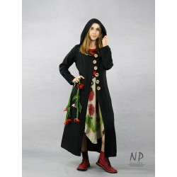 Long black coat with a hood made of linen