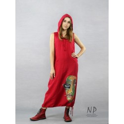 Red loose linen dress with an oversize hood, decorated with a hand-painted face