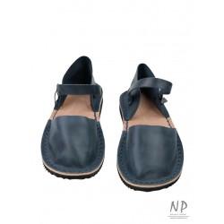 Women's navy blue flat sandals made in the Trek studio