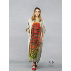 Hand-painted oversize dress made of natural linen