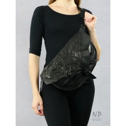 Large, black women's sachet made by hand from natural leather