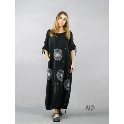 Long black oversized linen dress, decorated with hand-painted dandelions