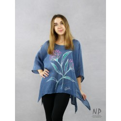 Blue linen blouse with elongated sides, decorated with hand-painted flowers