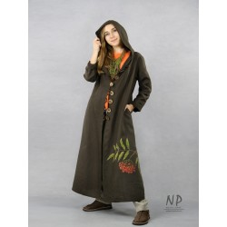 Women's long brown linen coat with a hood, decorated with hand-painted mountain ash