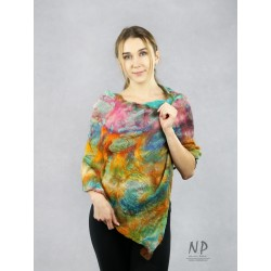 Colorful poncho, silk scarf, delicately felted with merino wool