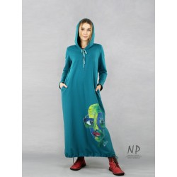 Hand-painted maxi dress with a hood in a sea color, made of cotton fabric