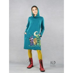 Hand-painted short dress with a hood in a sea color, made of cotton fabric