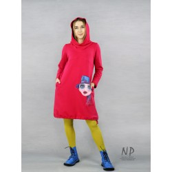 Raspberry Short Knit Oversized Face Dress with Hood and Turtleneck.