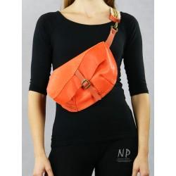 Orange ladies leather pouch, large size kidney.