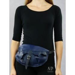 Handmade navy blue women's sachet made of natural leather