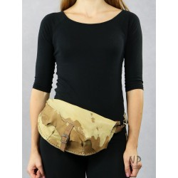 Ladies' beige sachet made by hand from natural leather