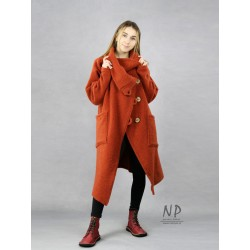 Ginger, asymmetrical steamed wool coat with a large collar