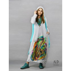 Long, light gray knitted turtleneck dress decorated with a hand-painted saxophone