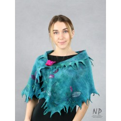 Handmade asymmetric silk felted shawl in turquoise colors