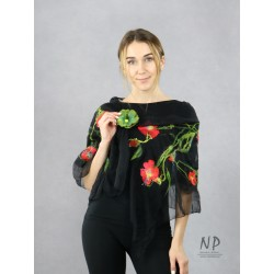 Black silk airy scarf, decorated with hand-felted red flowers