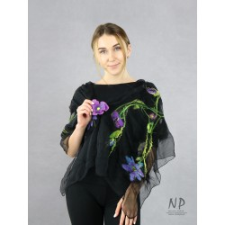 Black silk airy scarf, decorated with hand-felted purple flowers
