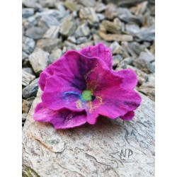 Hand-felted women's brooch in the form of a flower with the possibility of pinning the hair