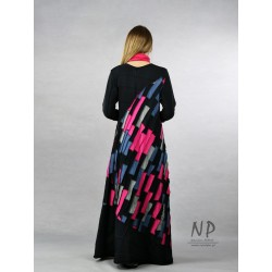 Long, knitted black patchwork dress with the addition of colorful pieces of fabric