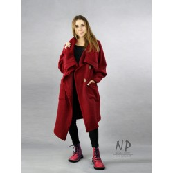 Maroon asymmetrical steamed wool coat with a large collar