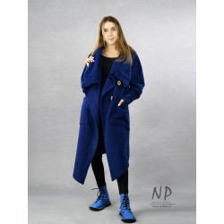 Dark blue asymmetrical steamed wool coat with a large collar