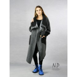 Gray asymmetrical steamed wool coat with a large collar