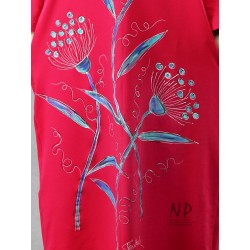 Hand-painted maxi dress with a hood in raspberry color, made of knitted cotton