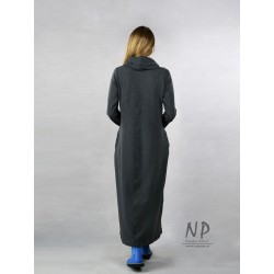 Long, gray knitted turtleneck dress decorated with a hand-painted colorful piano keyboard