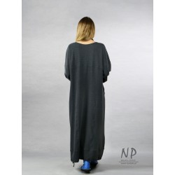 Gray, knitted oversize dress, decorated with hand-painted houses