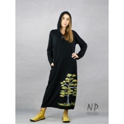 Black knitted dress with a hood, decorated with a hand-painted tree