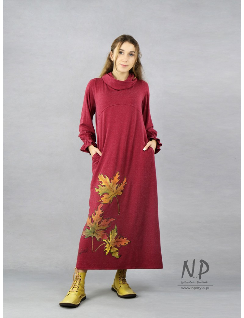 Long, burgundy knitted turtleneck dress, decorated with hand-painted leaves