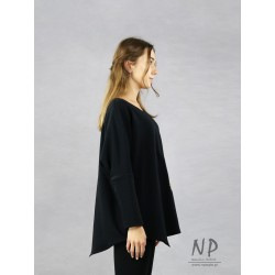 Hand-painted black women's oversize blouse with asymmetrical hem and low sewn sleeves
