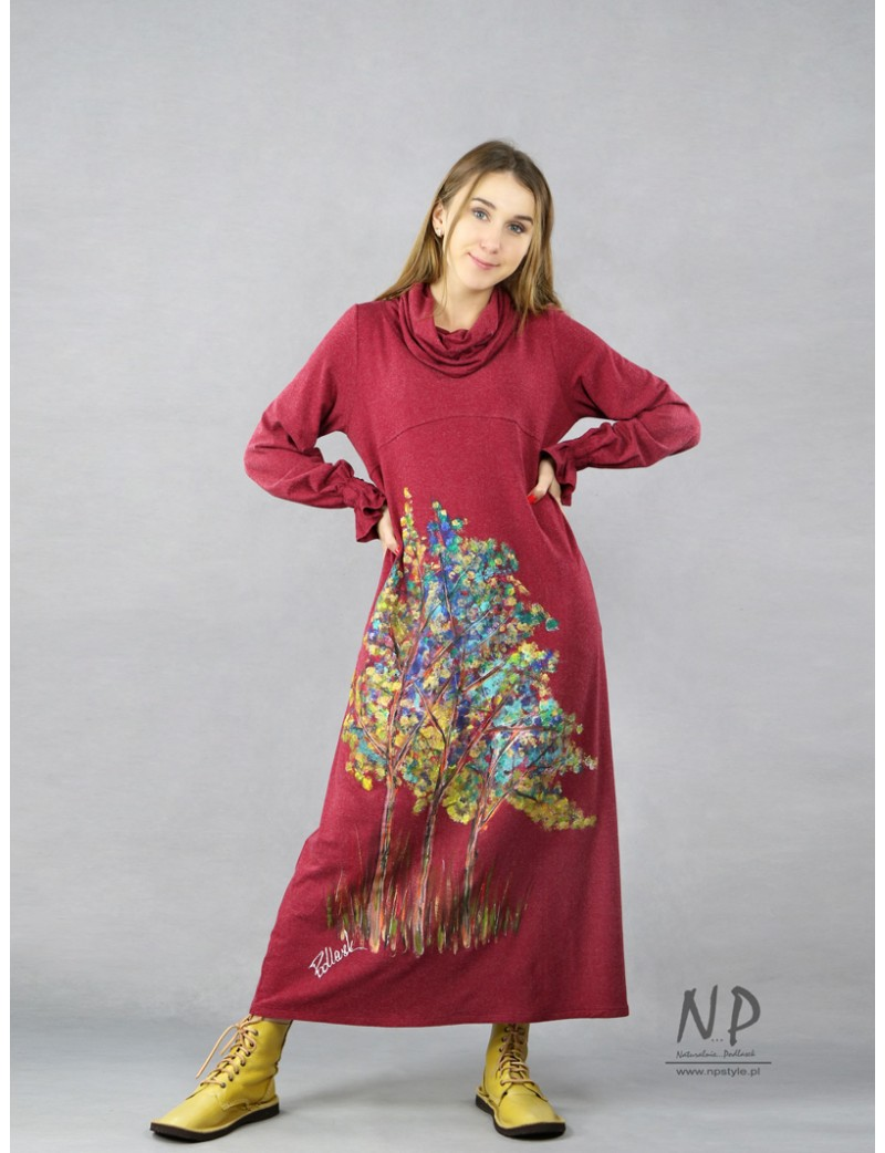 Burgundy knitted turtleneck dress, decorated with hand-painted trees.