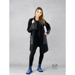 Black oversized long asymmetrical women's sweatshirt with a large collar