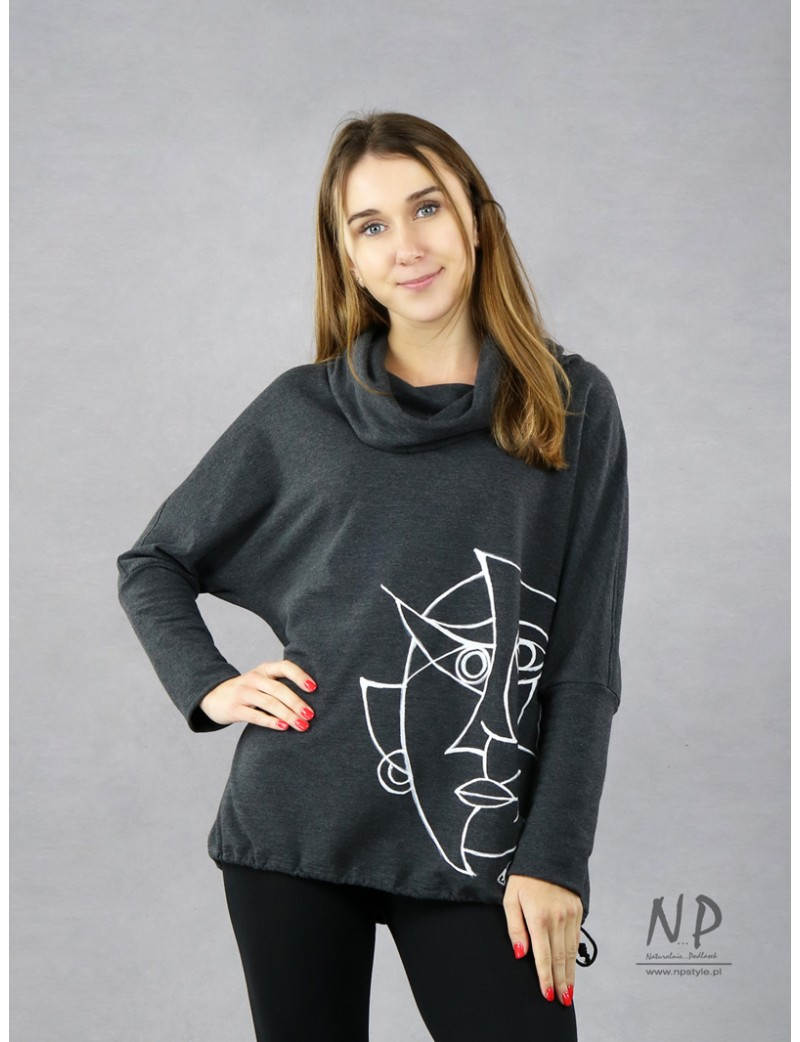 Hand painted gray women's turtleneck blouse with low sewn sleeves