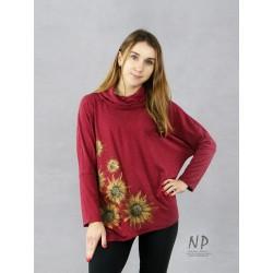 Hand-painted burgundy oversize women's blouse with an asymmetrical hem.