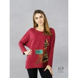 Ladies' maroon oversize blouse with an asymmetrical hem, decorated with hand-painted patterns.