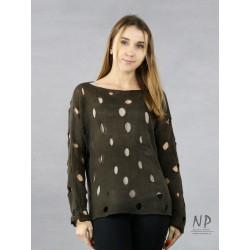 A brown linen sweater with holes for women.
