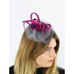 Gray fascinator hat with a veil
