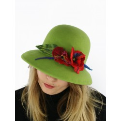 A felt hat with a large brim in green color.
