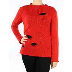 Women's red fitted sweater with holes.